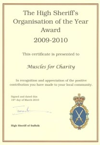 MFC High Sheriff Commendation certificate